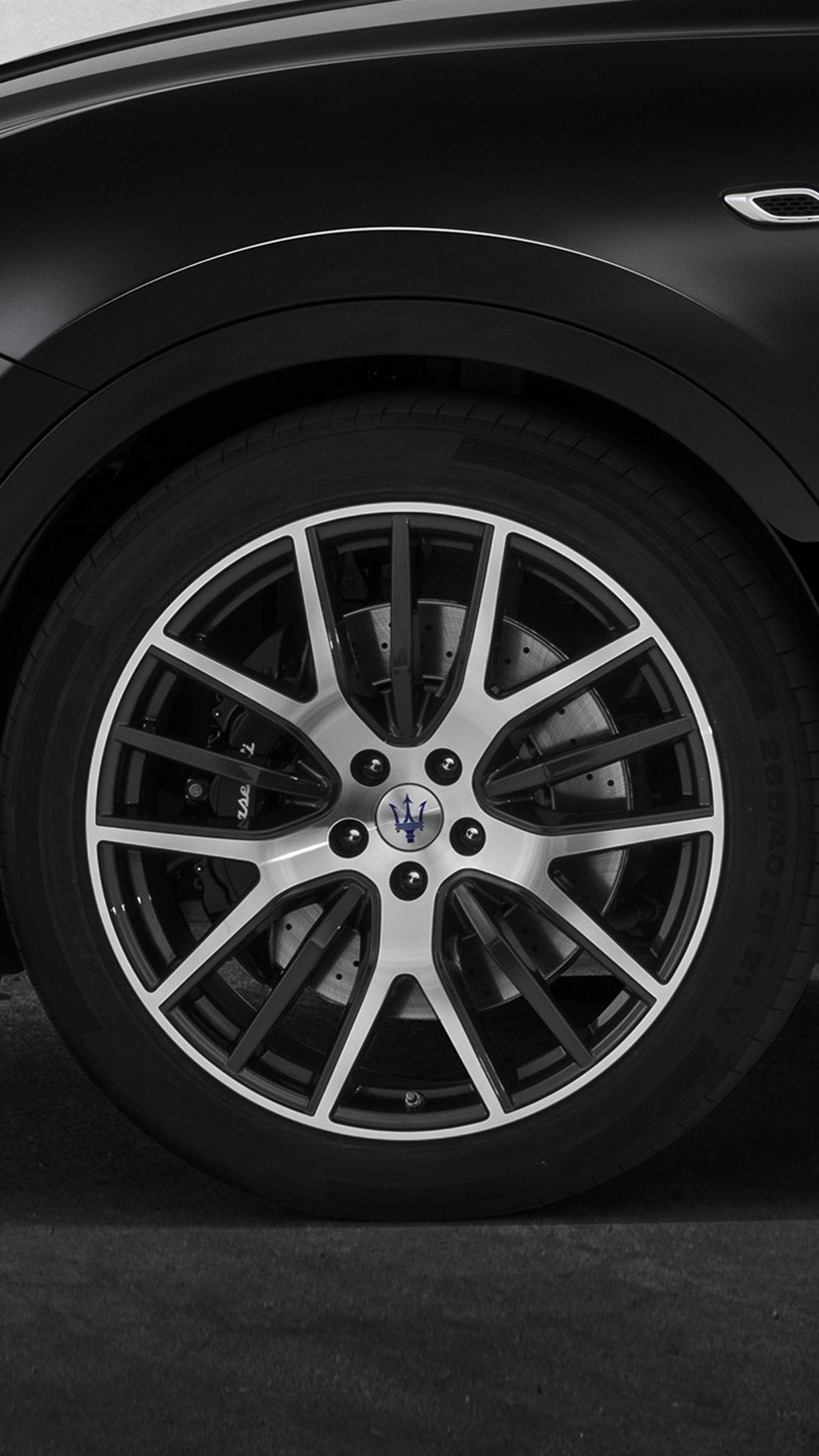 Maserati tyres and rims, silver and black
