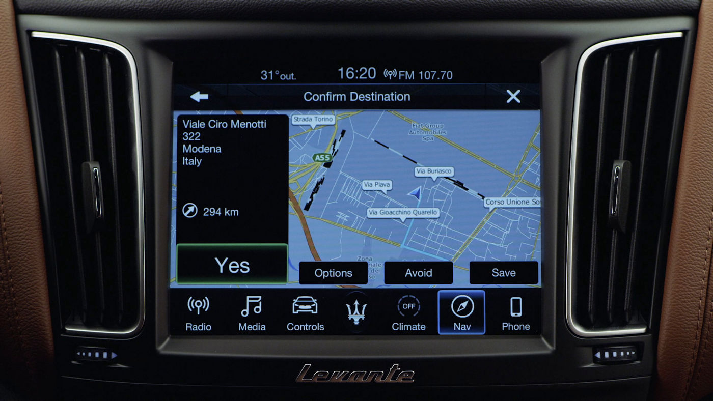 Maserati display and Bluetooth connection: Navigation to address
