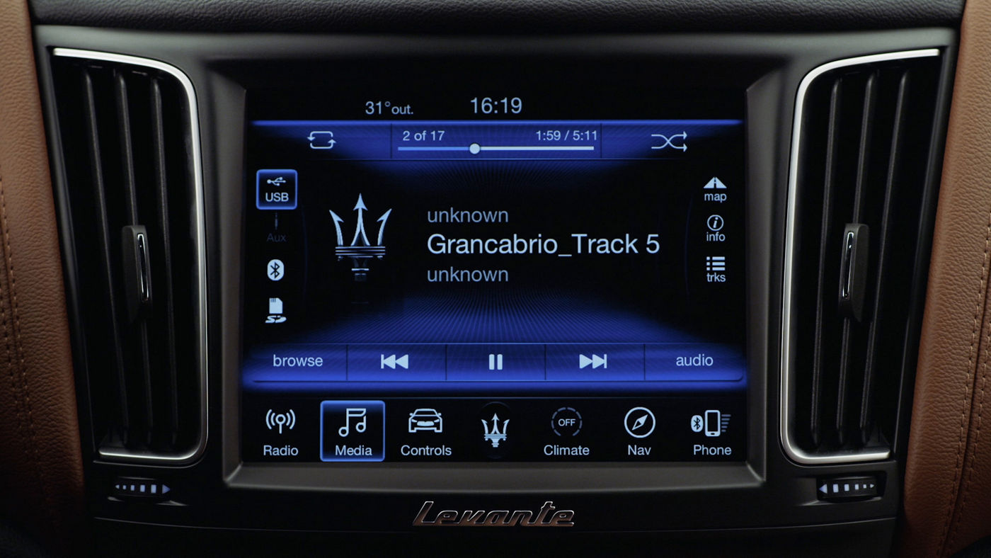 Maserati display and Bluetooth connection: Media