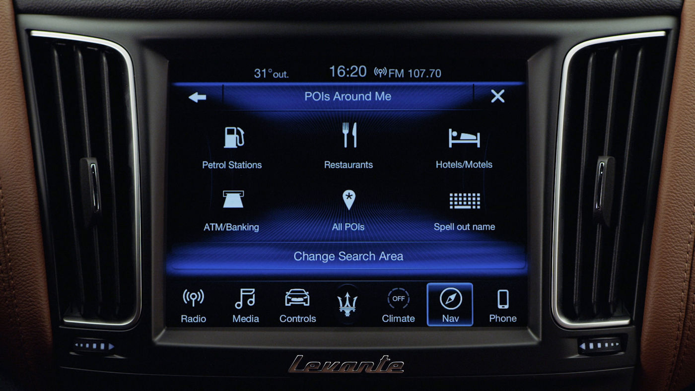 Maserati display and Bluetooth connection: Navigation to POI