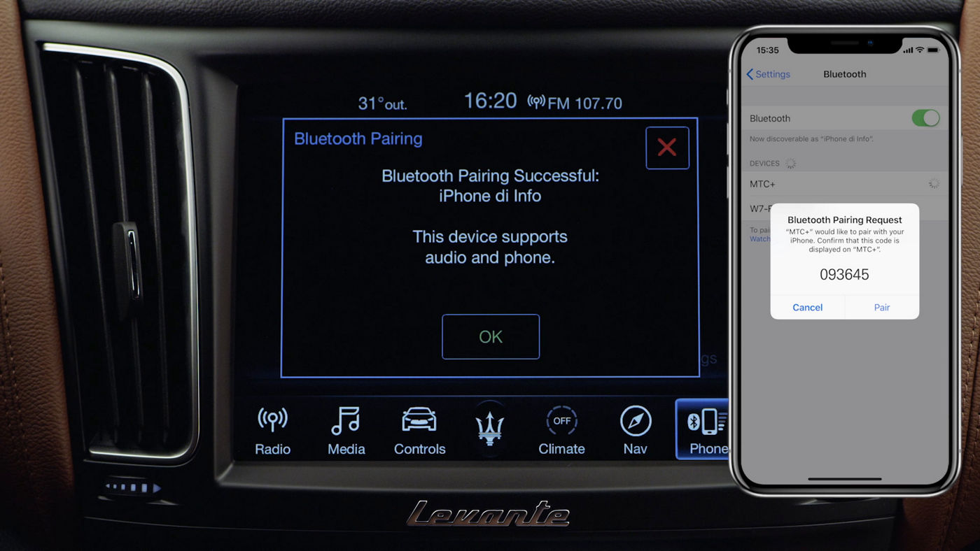 Maserati Levante - Connect your mobile device via Bluetooth
