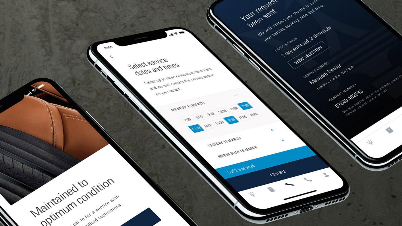 Maserati Owner App: Maintenance screens