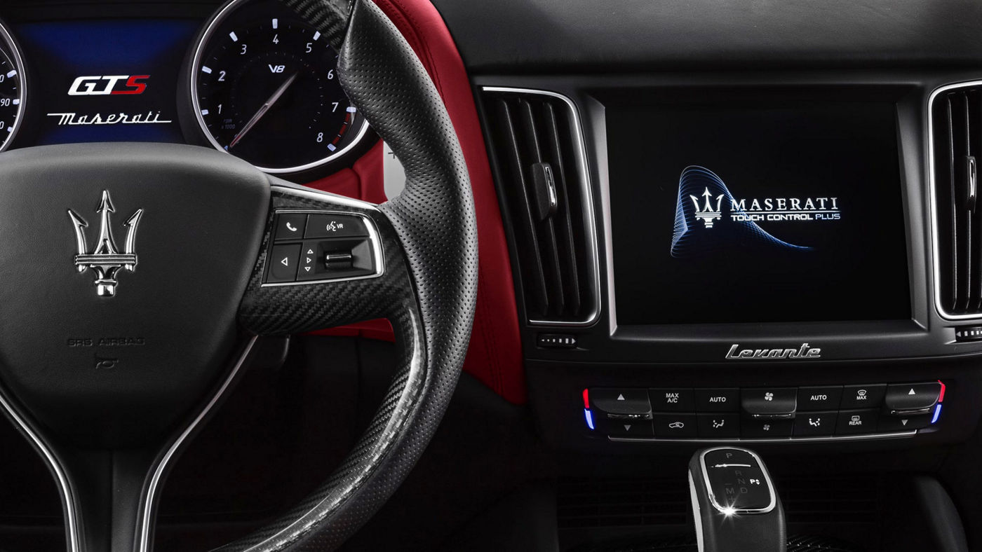 Maserati Levante - car dashboard, red and black