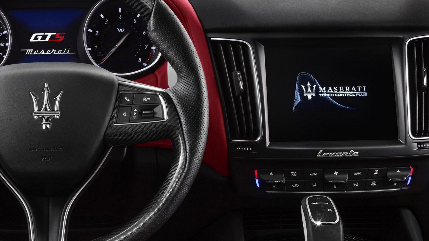 Maserati Levante - car dashboard, red and black