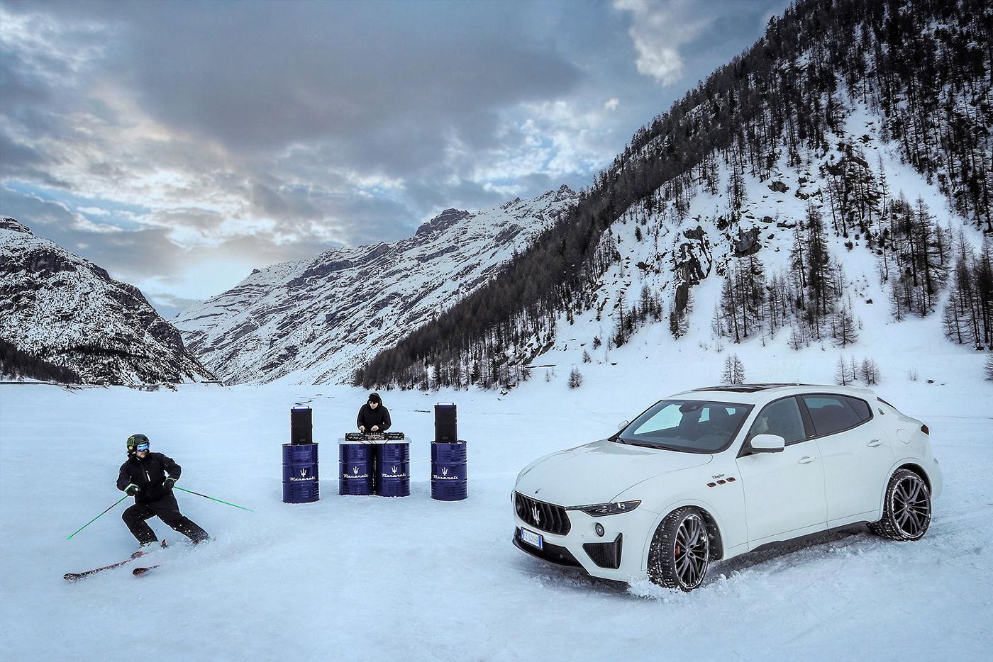 Giorgio Rocca im Maserati Levante auf dem Rückweg - DJ und Skifahrer