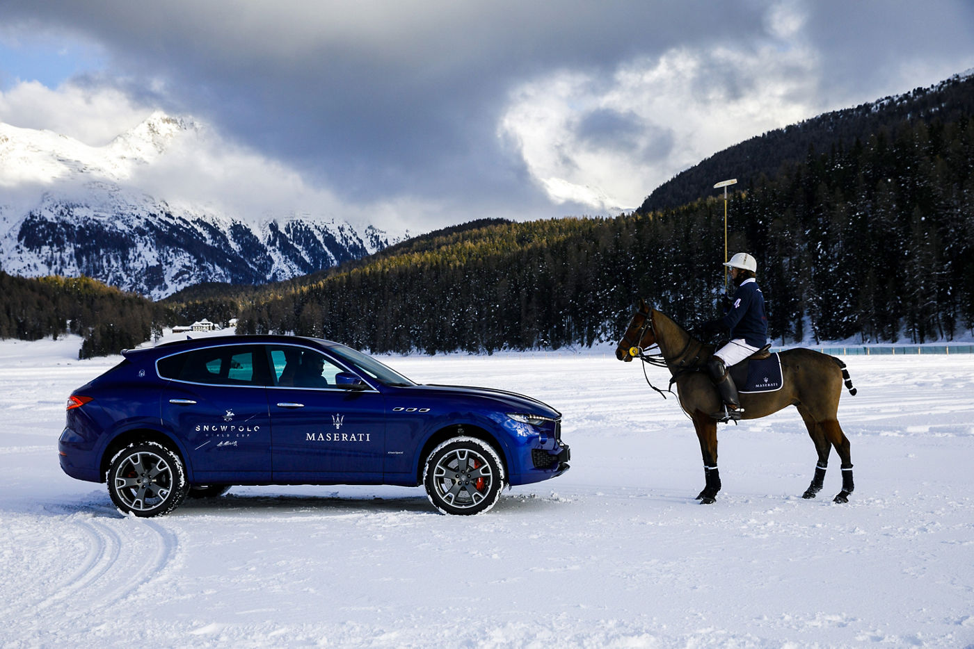 Maserati Levante on the polo field - Snow Polo World Cup St.Moritz 2018