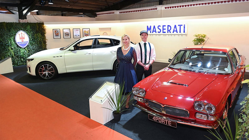 Maserati Levante GTS, together with Maserati Quattroporte Series 1, at the 2019 Goodwood Revival