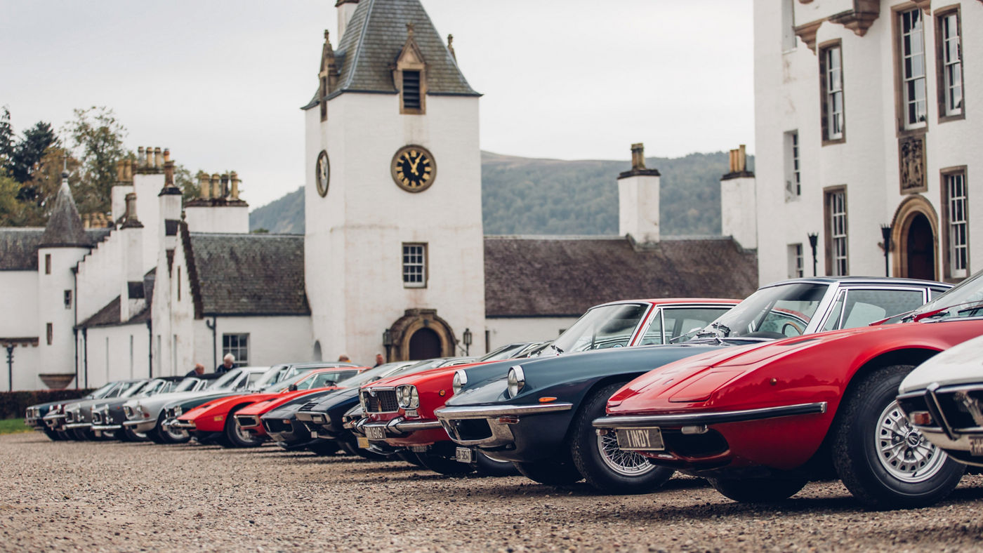 Maserati classic models at the 40th International Rally in Scotland