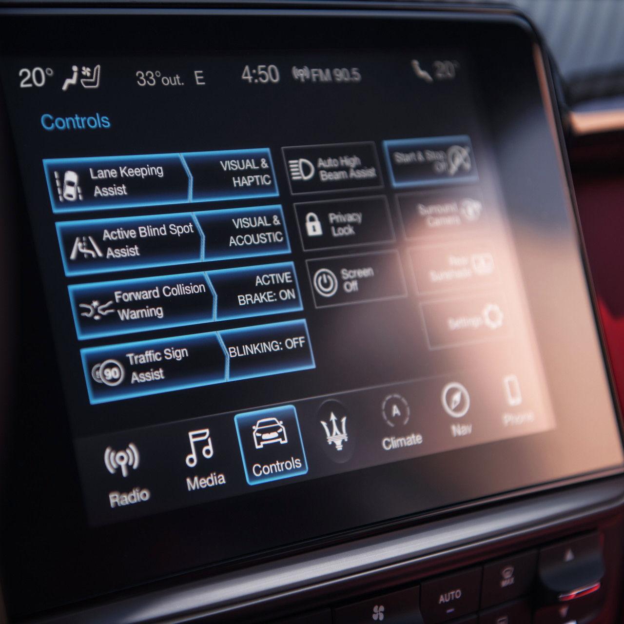 Gamma Maserati 2019 - sistema digitale di sicurezza e assistenza alla guida