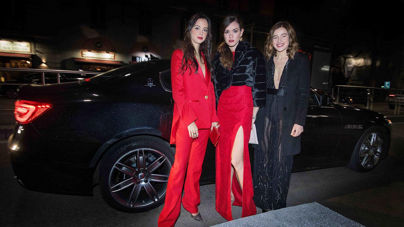 Violante Nessi, Petra Conti, Anfisa Letyago con l'ammiraglia Quattroporte