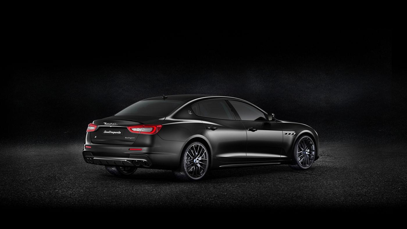 Black Maserati Quattroporte - Sedan  - Back Side view