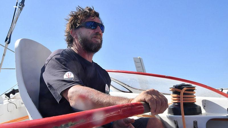 Lo skipper Giovanni Soldini a bordo del Trimarano Multi70 a Porto Cervo