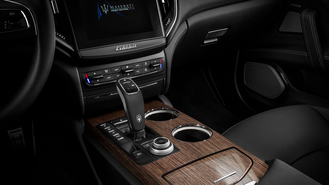 Luxury interior of a Maserati Ghibli – Black leather seats, Rovere trim – Maserati interior