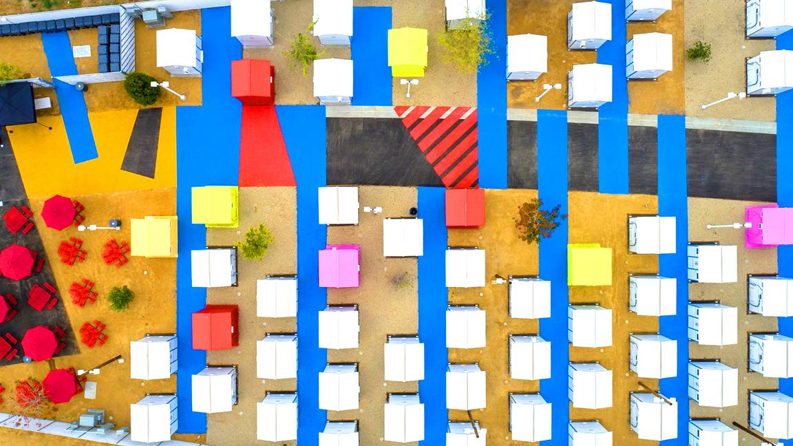 Aerial photo of colourful tiny houses