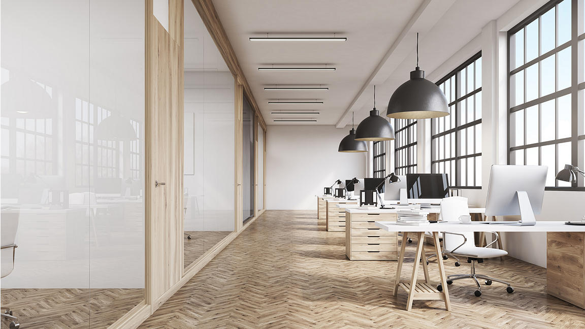 Modern office setting with open plan desk and offices/meeting rooms