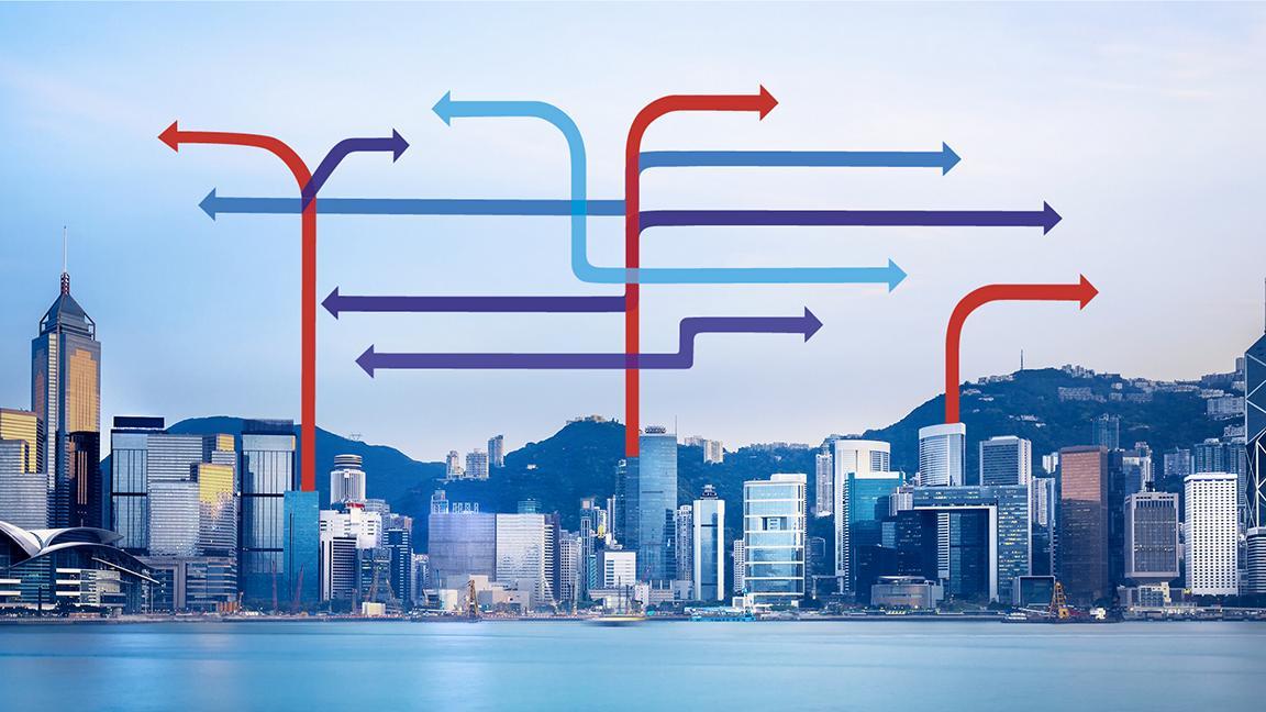Arrows above Hong Kong cityscape