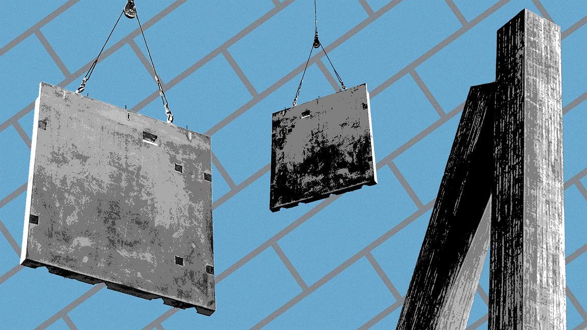 Blue toned photo montage of concrete construction