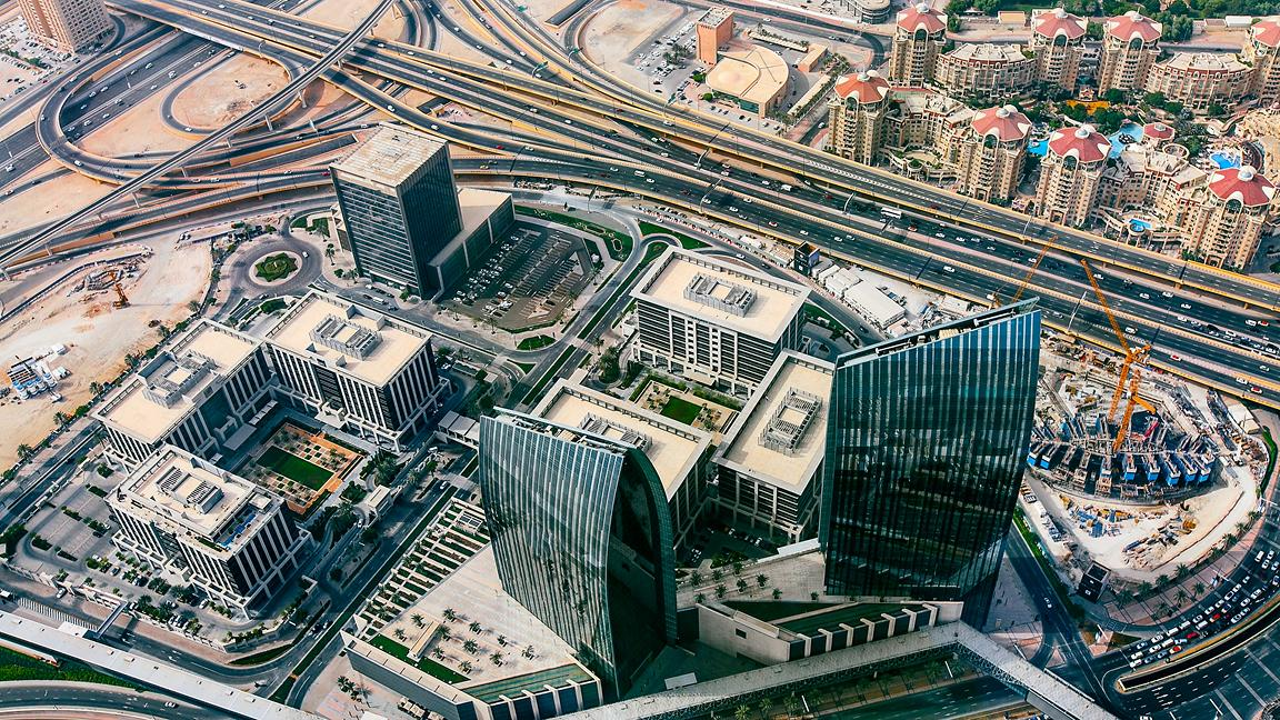 View from above of Dubai, United Arab Emirates including buildings and roads