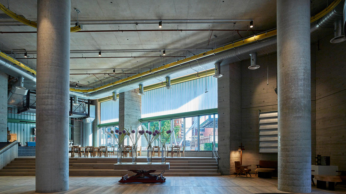 Interior of White Collar Factory, a 17-storey new-build office in Old Street, London