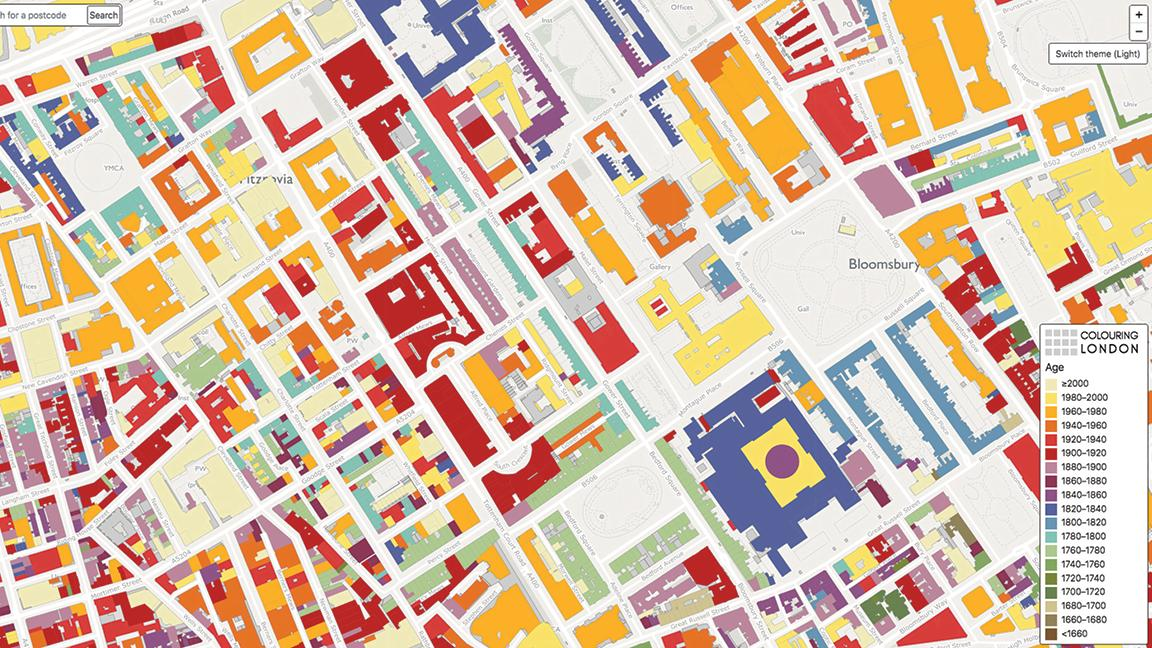 Colouring London platform screengrab shows the age of buildings in the Bloomsbury and Fitzrovia areas of London