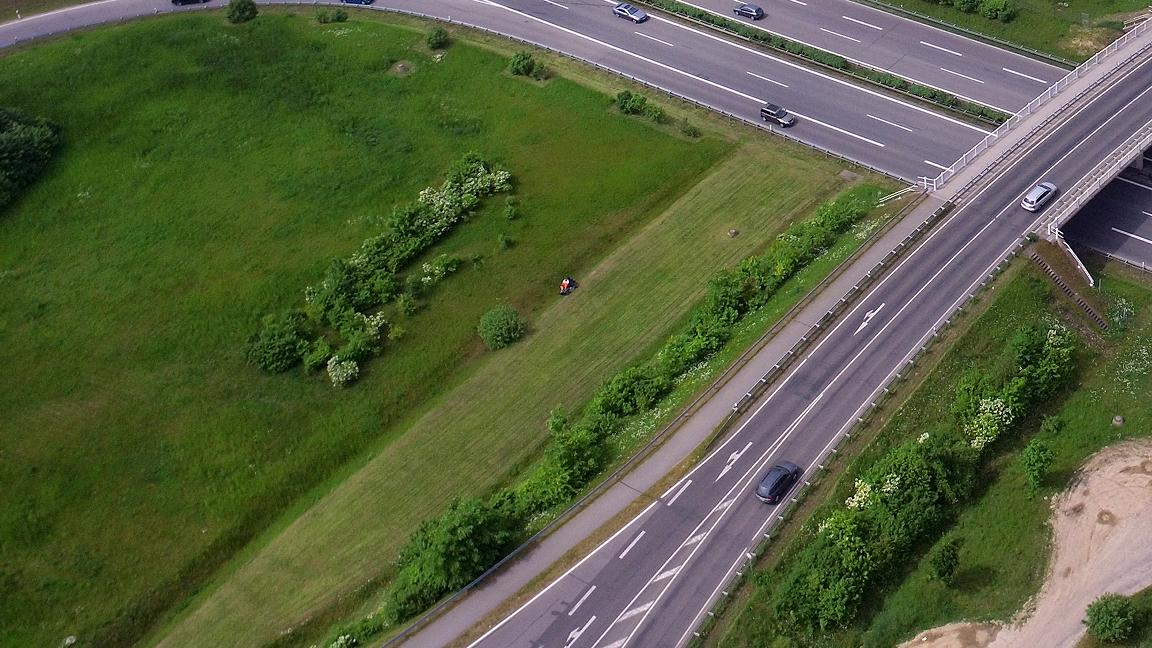 Aerial view of a highway crossing in Germany