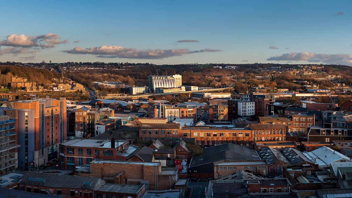 Skyline view of buildings in Sheffield, South Yorkshire, England