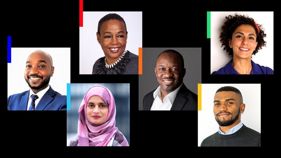 From left to right: Yunus Aminu MRICS, Saba Nayab FRICS, Alvah Beander MRICS, Uche Obi FRICS, Jonah Speaks, Ayda Chamcham MRICS