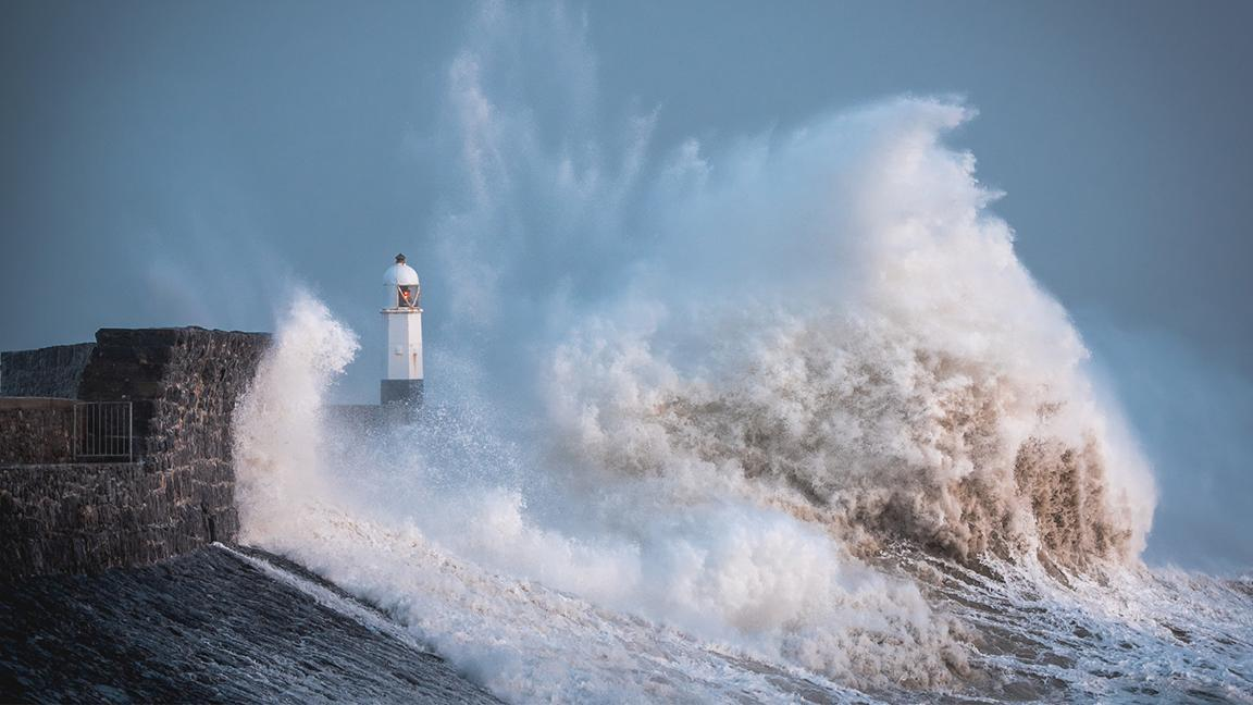 Storm Ciara hits the coast of Porthcawl in South Wales