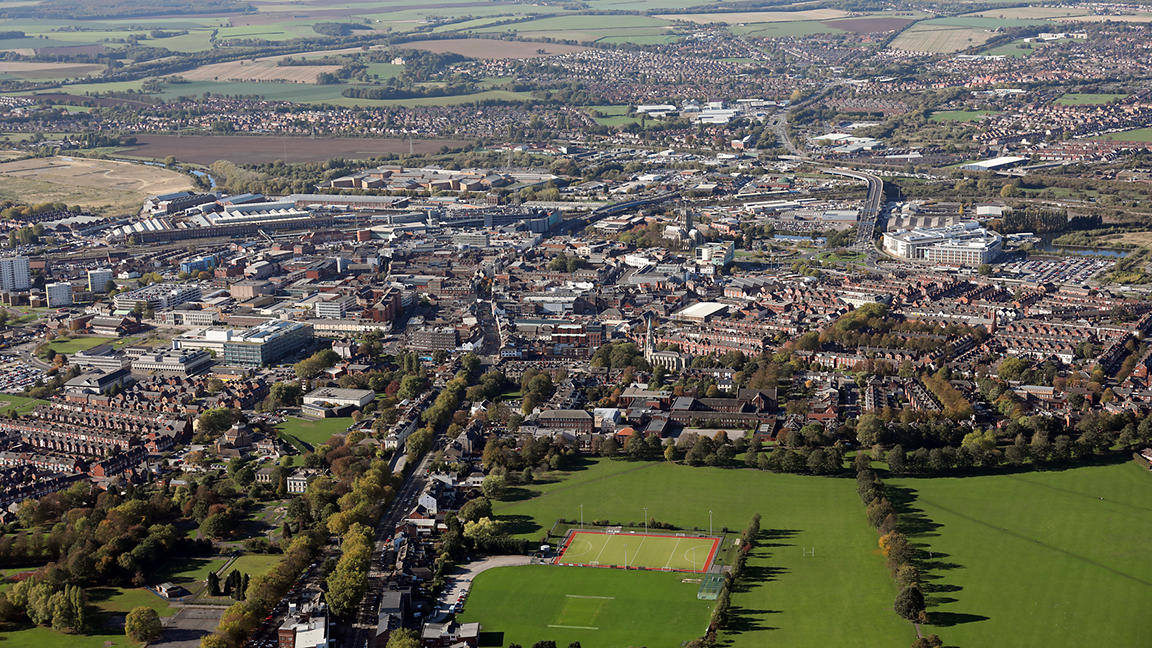 Aerial view of Doncaster town centre, South Yorkshire