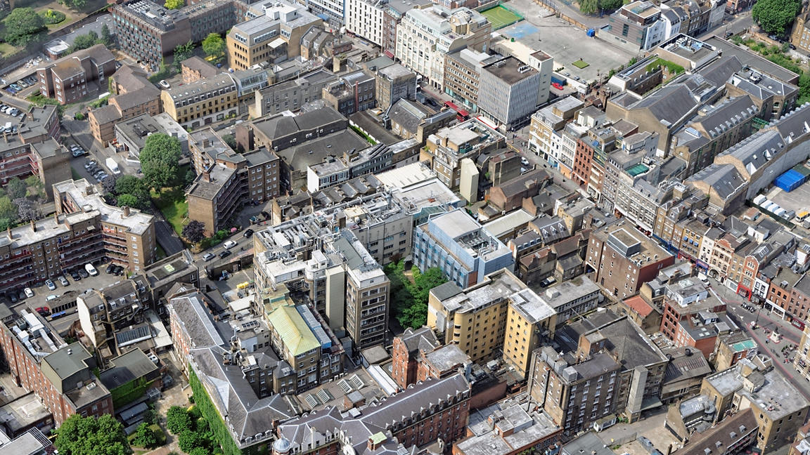 Aerial view of London high-rise buildings