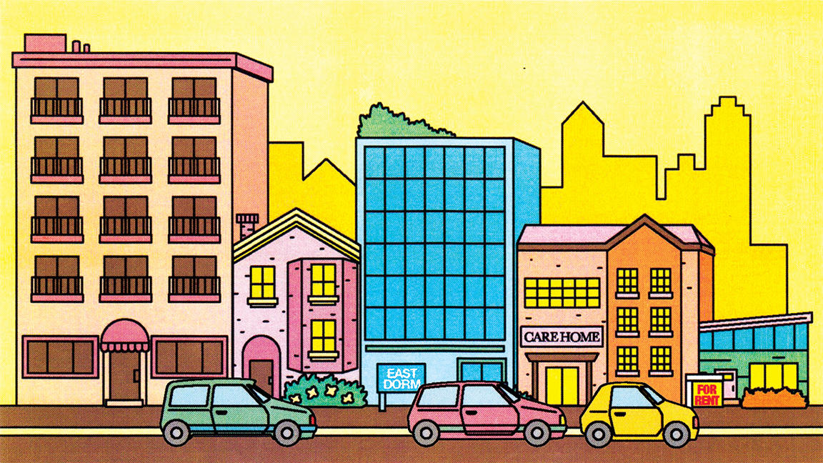 Illustration of five buildings, including dormitories and a care home against a yellow background with cars driving in front