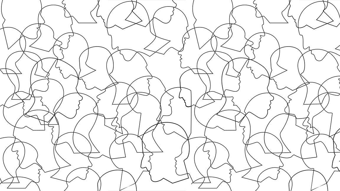 Black-and-white line drawing of multiple heads in profile