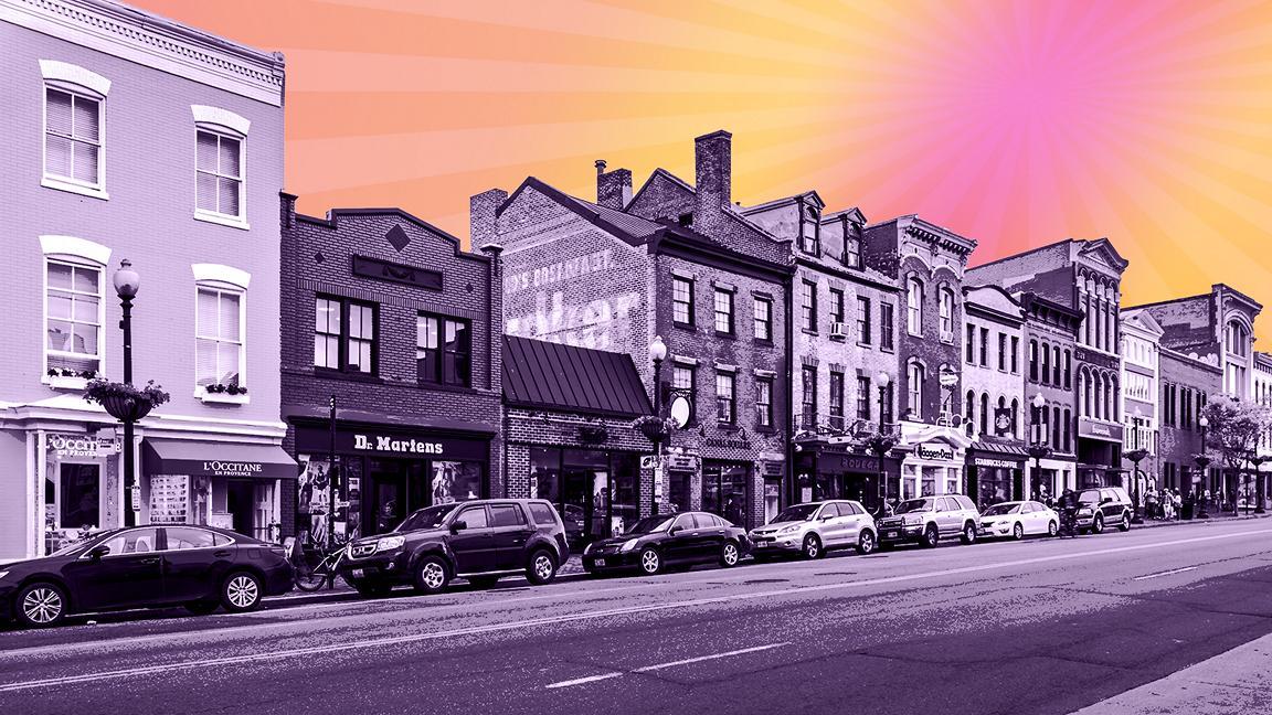 Purple toned American high street with sunrise illustrated sky