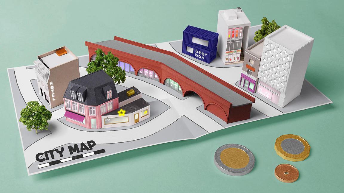 Paper pop up shop model