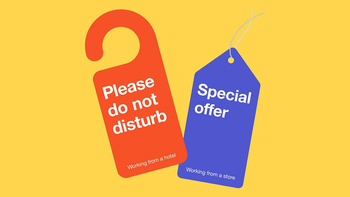 Do not disturb door sign and special offer shop ticket on yellow background