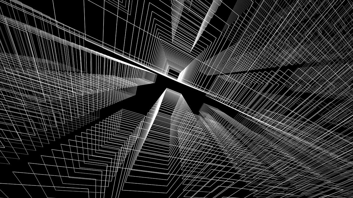 Concept city architecture 3d illustration in black and white