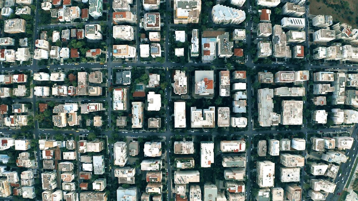 aerial view of urban housing in Athens, Greece