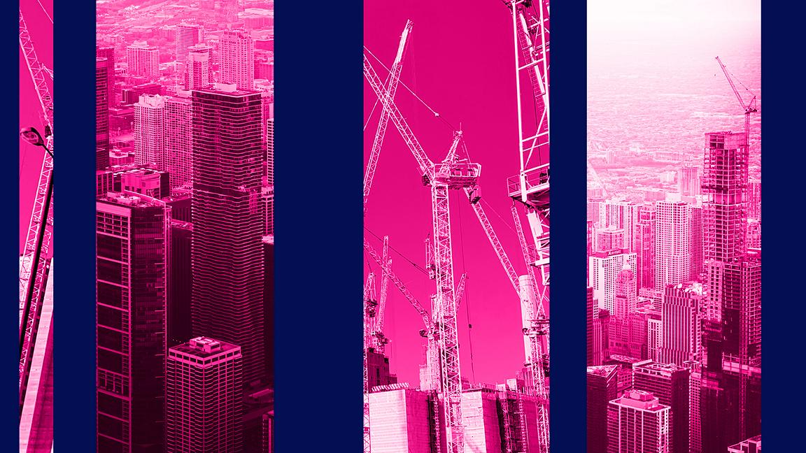 Pink toned images of buildings and construction