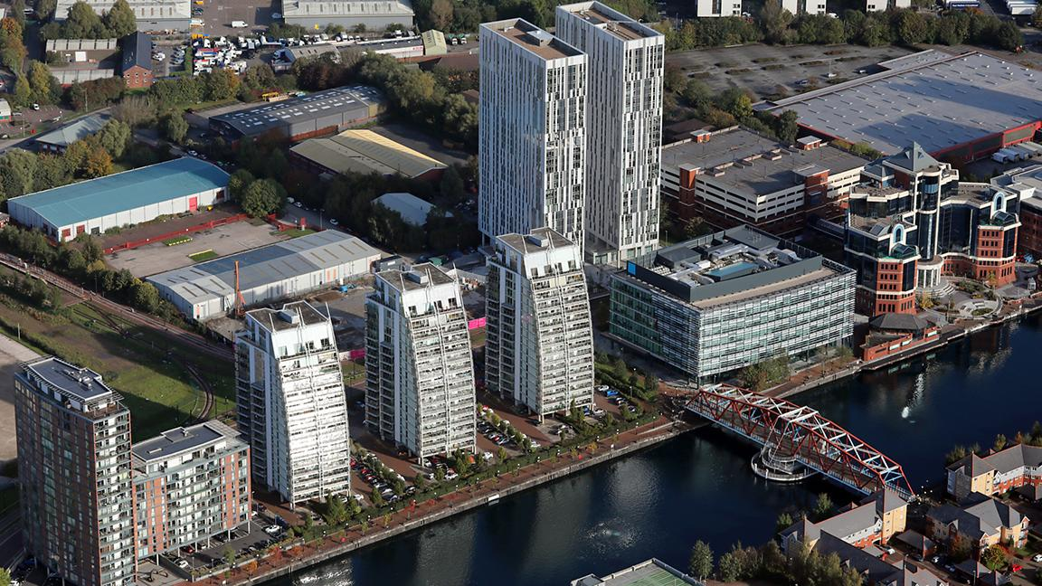 Aerial view of a number of apartment blocks, UK