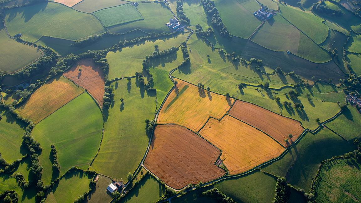 Overhead view of fields and farmland