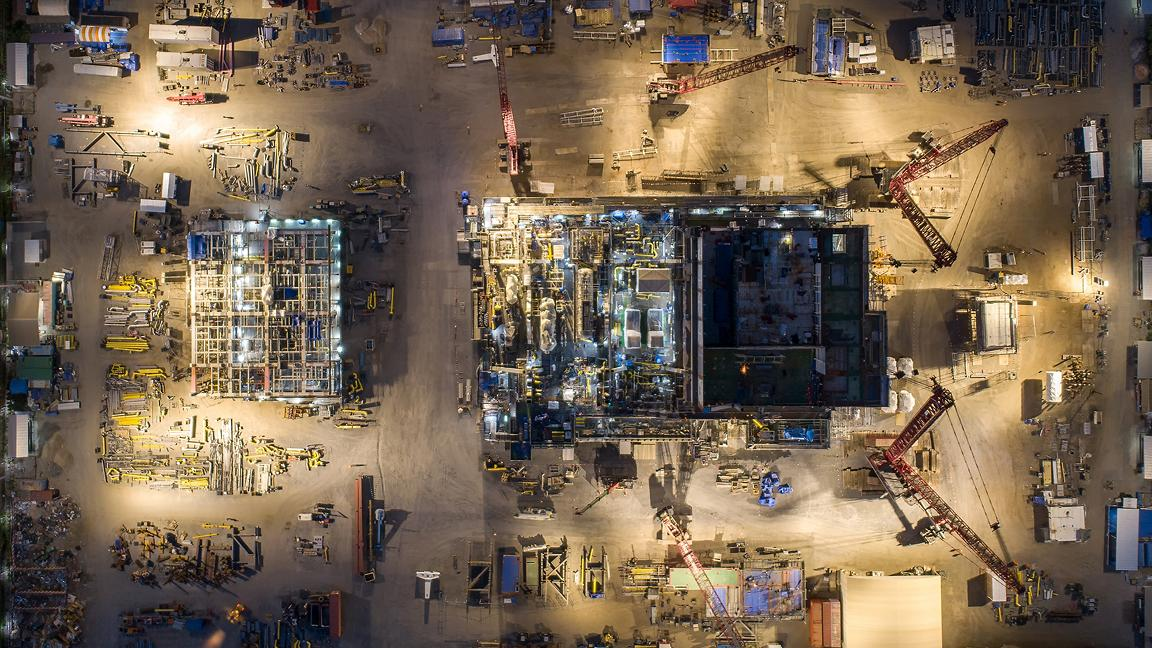 Aerial view oil rig prefabrication construction site
