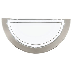 Eglo Planet 1 Matt Nickel & Satinated Glass Half Wall & Ceiling Light - 60W E27