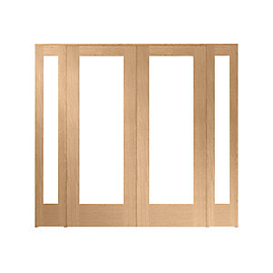 Wickes Oxford Fully Glazed Oak Internal Room Divider 2 x 762mm Doors with 2 Demi Panels - 2017mm x 2232mm