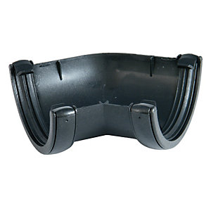 FloPlast 112mm Cast Iron Style Round Line Gutter Angle 135 - Black
