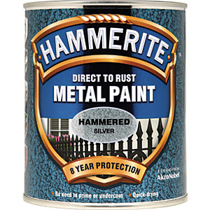 Hammerite Metal Paint - Hammered Silver 750ml