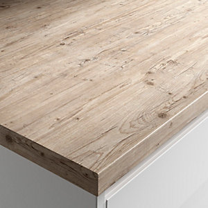 Wickes Wood Effect Laminate Worktop - Light Rustic Timber 600mm x 38mm x 3m