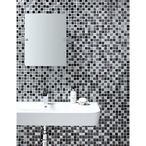 Wickes Midnight Glass & Stone Mosaic Tile - 300 x 300mm