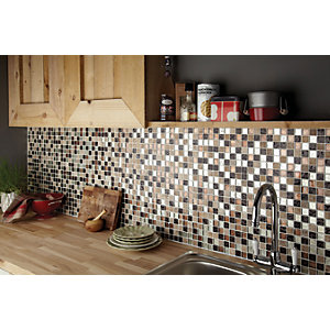 Wickes Autumn Glass & Stone Mosaic Tile - 300 x 300mm