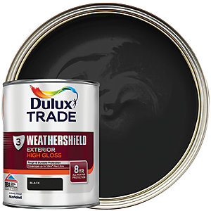 Dulux Trade Weathershield Exterior Gloss Paint - Black 1L