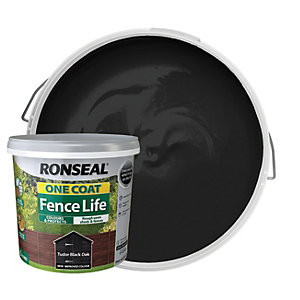 Ronseal One Coat Fence Life Matt Shed & Fence Treatment - Tudor Black Oak 5L